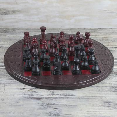 Leather chess set, 'Burgundy Battle' - Leather Chess Set in Burgundy and Black from Ghana