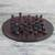 Leather chess set, 'Burgundy Battle' - Leather Chess Set in Burgundy and Black from Ghana thumbail