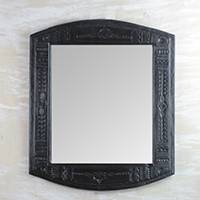 Leather wall mirror, 'Embossed Africa' - Handcrafted Leather Wall Mirror in Black from Ghana