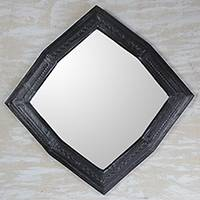 Leather wall mirror, 'Black Gem' - Handmade Black Leather Wall Mirror from Ghana