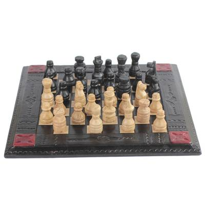 Handmade Leather Chess Set from Ghana