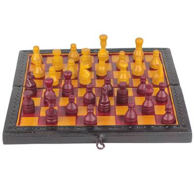 Red and Yellow Leather Travel Chess Set from Ghana