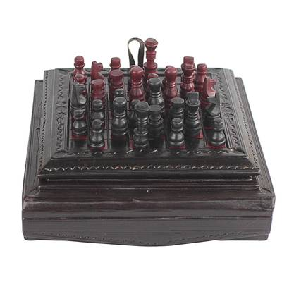 Handmade Leather Chess Set with Box from Ghana