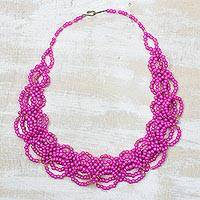 Recycled glass beaded necklace Magenta Burst (Ghana)