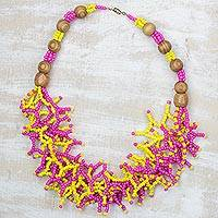Recycled glass statement necklace, 'Neon Branches' (Ghana)