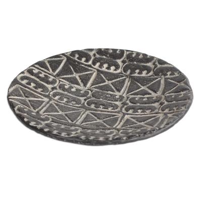 Adinkra Symbol Ceramic Decorative Plate in Black (11.5 in.)