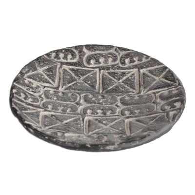 Adinkra Symbol Ceramic Decorative Plate in Black (10 in.)