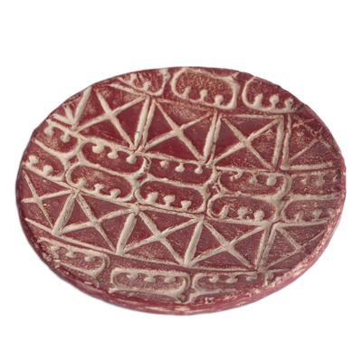 Adinkra Symbol Ceramic Decorative Plate in Red (10 in.)