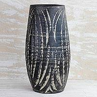 Ceramic vase, 'Water Waves in Black' (13 inch) - Wave Motif Ceramic Vase in Black from Ghana (13 inch)