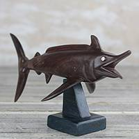 Ebony wood sculpture, 'Swordfish' - Ebony Wood Swordfish Sculpture from Ghana