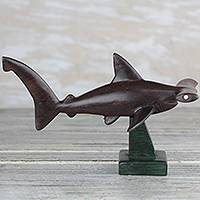 Ebony wood sculpture, 'Hammerhead Shark' - Ebony Wood Hammerhead Shark Sculpture from Ghana