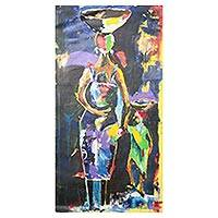 'Joy' - Signed Impressionist Mother and Child Painting from Ghana