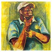 'Gaze to the East' - Signed Impressionist Painting of a Thinking Man from Ghana