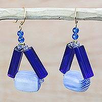 Recycled plastic dangle earrings, 'Eco Triangles in Blue' - Blue Triangular Recycled Plastic Dangle Earrings from Ghana
