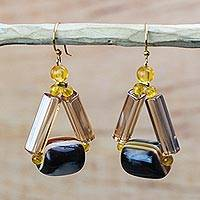 Recycled plastic dangle earrings, 'Eco Triangles' - Triangular Recycled Plastic Dangle Earrings from Ghana