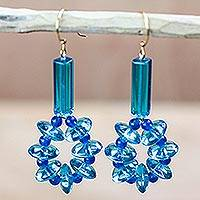 Recycled glass dangle earrings, 'Oceanic Wreaths' - Blue Recycled Glass Dangle Earrings from Ghana