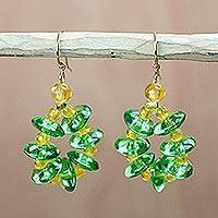Recycled glass dangle earrings, 'Gleaming Wreaths' - Green and Yellow Recycled Glass Dangle Earrings from Ghana