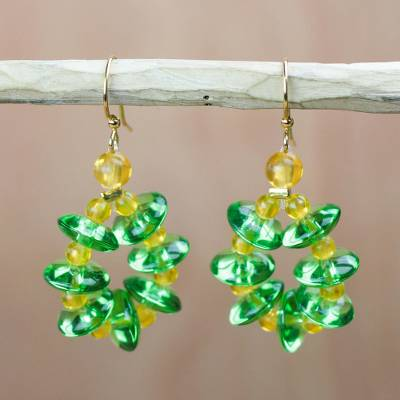 Recycled glass dangle earrings, Gleaming Wreaths