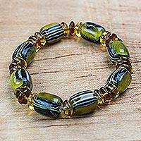 Recycled plastic beaded stretch bracelet, 'Eco Majesty' - Clear Recycled Plastic Beaded Stretch Bracelet from Ghana