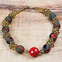 Recycled plastic beaded necklace, 'Lady in Red' - Recycled Plastic and Cotton Beaded Necklace in Red