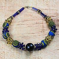 Recycled plastic beaded necklace, 'African Glory' - Recycled Plastic and Cotton Beaded Necklace from Ghana