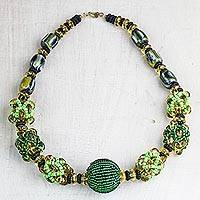 Recycled plastic beaded pendant necklace, 'Inner Potential' - Recycled Plastic Beaded Pendant Necklace in Green from Ghana