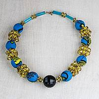 Recycled plastic beaded necklace, 'Eco Ahoufe' - Recycled Plastic and Cotton Beaded Necklace in Blue