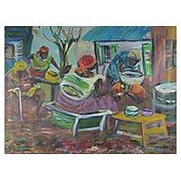 'Aburi Chop Bar' - Signed Impressionist Painting of Cooks from Ghana