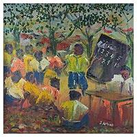 'School Under Tree' - Signed Impressionist Painting of a Classroom from Ghana