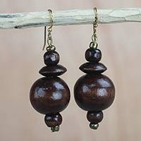Wood dangle earrings, 'Casually Elegant' - Brown Wood Disc and Round Bead Dangle Earrings from Ghana