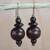 Wood dangle earrings, 'Casually Elegant' - Brown Wood Disc and Round Bead Dangle Earrings from Ghana thumbail