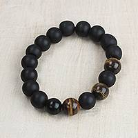 Tiger's eye beaded stretch bracelet, 'Bold Is Beautiful' - Tiger's Eye Matte Black Recycled Glass Bead Stretch Bracelet