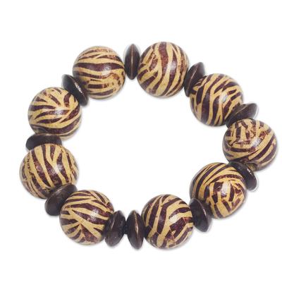 Zebra Motif Wood Beaded Stretch Bracelet from Ghana