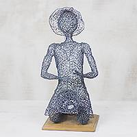 Steel sculpture, 'Drum Beater' - Steel Wire Sculpture of a Drummer from Ghana