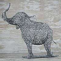 Steel sculpture, 'Excited Elephant' - Steel Wire Elephant Sculpture Crafted in Ghana