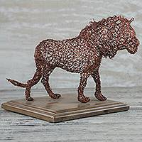 Copper sculpture, 'Pacing Lion' - Copper Wire Lion Sculpture Crafted in Ghana