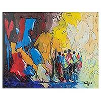 'The Last Trip' - Signed Colorful Abstract Painting from Ghana