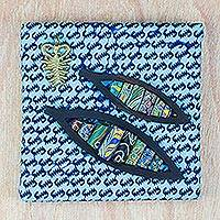 Ebony wood and recycled glass wall art, 'Boats at a Calm Sea' - Ebony Wood and Recycled Glass Wall Art in Blue from Ghana