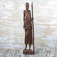 Wood statuette, 'Linguist' - Signed Mahogany Wood Statuette of a Man from Ghana