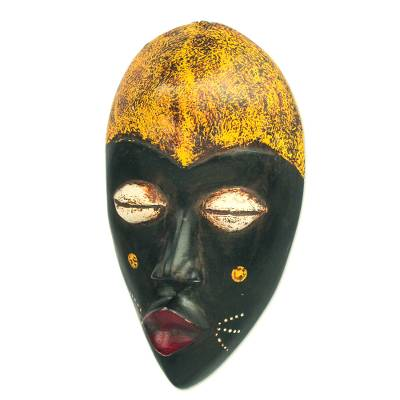 African wood mask, 'Adaoma Woman' - Hand-Carved Black and Yellow African Wood Mask from Ghana