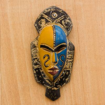 African wood mask, 'Dual Thandi' - Blue and Orange Wood African Mask from Ghana