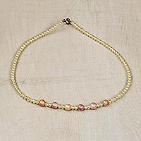 Recycled glass beaded necklace, 'Abundantly Beautiful' (Ghana)
