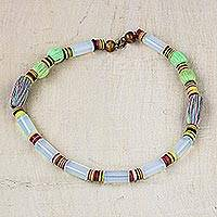 Recycled glass and plastic beaded necklace, 'Dreamy Woman' - Recycled Glass Plastic and Cotton Necklace from Ghana