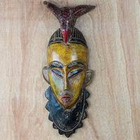 African wood mask, 'Friendly Paa Nii' - Bird-Themed African Sese Wood Mask in Yellow from Ghana