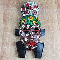 African wood mask, 'Colorful Gidigidi' - Multicolored African Wood Mask from Ghana