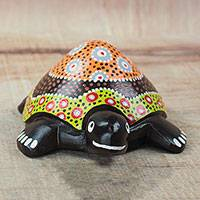 Wood sculpture, 'Slow But Sure' - Hand-Painted Sese Wood Turtle Sculpture from Ghana