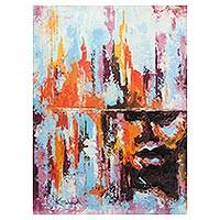 'Forgiveness' - Signed Multicolored Abstract Painting from Ghana