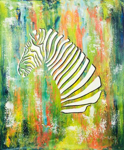 'Zebra' - Signed Modern Painting of a Zebra from Ghana