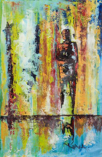 'Loneliness' - Signed Abstract Painting by a Ghanaian Artist