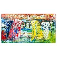 'Strong Women' - Multicolored Abstract Painting from Ghana